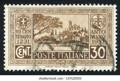 ITALY - CIRCA 1931: stamp printed by Italy, shows Olivares hermitage in Portugal, circa 1931