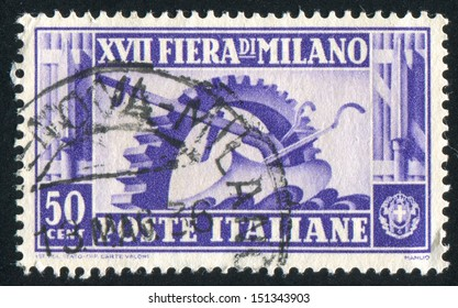 ITALY - CIRCA 1936: stamp printed by Italy, shows Cogwheel and plow, circa 1936