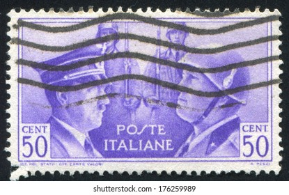 ITALY - CIRCA 1941: stamp printed by Italy, shows Hitler and Mussolini, circa 1941