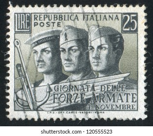 ITALY - CIRCA 1952: stamp printed by Italy, shows Sailor, soldier and aviator, circa 1952