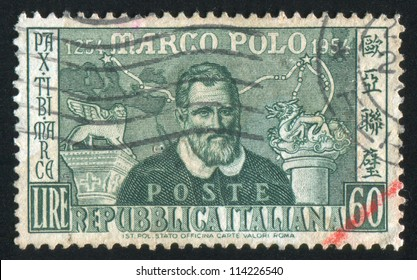 ITALY - CIRCA 1954: stamp printed by Italy, shows Marco Polo, circa 1954