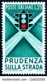 ITALY - CIRCA 1957: A stamp printed in the Italy shows Traffic Light, Campaign for Careful Driving, circa 1957