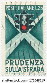 ITALY - CIRCA 1957: A stamp printed in Italy shows Traffic Light, circa 1957