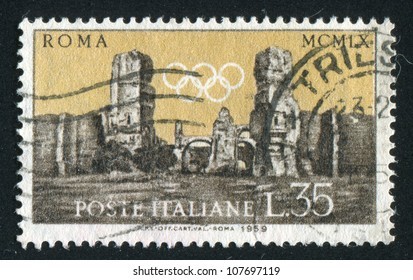 ITALY - CIRCA 1959: stamp printed by Italy, shows Baths of Carcalla and Olympic  Rings, circa 1959