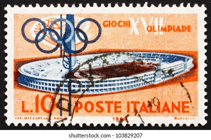 ITALY - CIRCA 1960: a stamp printed in the Italy shows Olympic Stadium, 17th Olympic Games, Rome, circa 1960