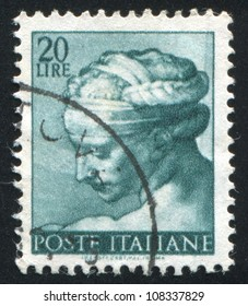 ITALY - CIRCA 1961: stamp printed by Italy, shows Designs from Sistine Chapel by Michelangelo, Libyan Sybil, circa 1961