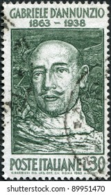 ITALY - CIRCA 1963: A stamp printed in Italy, is dedicated to the 100th anniversary of Gabriele d'Annunzio, circa 1963