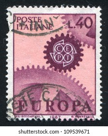 ITALY - CIRCA 1967: stamp printed by Italy, shows Stylized CEPT on the cogwheel, circa 1967