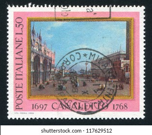 ITALY - CIRCA 1968: stamp printed by Italy, shows The small Saint Mark Place by Canaletto, circa 1968