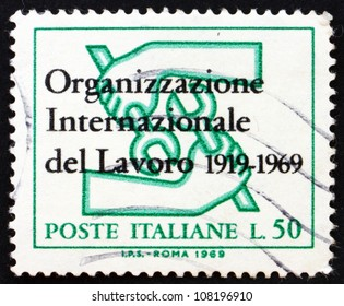 ITALY - CIRCA 1969: a stamp printed in the Italy shows ILO Emblem, 50th Anniversary of the ILO, circa 1969