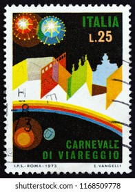 "ITALY - CIRCA 1973: A stamp printed in Italy from the ""Viareggio Carnival"" issue shows Carnival Setting, circa 1973."