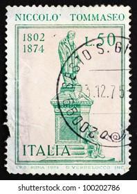 ITALY - CIRCA 1974: a stamp printed in the Italy shows Nicollo Tommaseo Statue, Writer, Venetian Education Minister, by Ettore Ximenes, Sibenik, Croatia, circa 1974