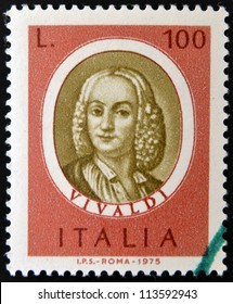 ITALY - CIRCA 1975: stamp printed in Italy, dedicated to Famous musicians shows Antonio Lucio Vivaldi, circa 1975