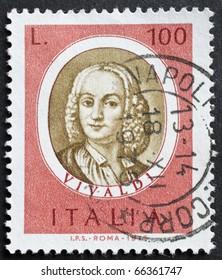 ITALY - CIRCA 1975: a stamp printed in Italy shows image of Antonio Lucio Vivaldi, the famous italian opera composer. Italy, circa 1975