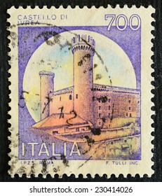 ITALY - CIRCA 1980: A stamp printed in Italy dedicated to Castle of Ivrea, F. Tulli INC., circa 1980