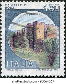 ITALY - CIRCA 1980: A stamp printed in Italy, is shown Castles Bosa, circa 1980