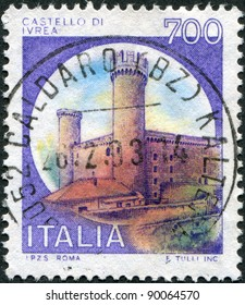 ITALY - CIRCA 1980: A stamp printed in Italy, shows Castle Ivrea, Turin, circa 1980