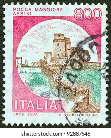 """ITALY - CIRCA 1980: A stamp printed in Italy from the """"Castles"""" issue shows Rocca Maggiore, Assisi, circa 1980."""