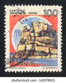 ITALY - CIRCA 1981: A stamp printed in Italy shows image of Aragonese Castle, circa 1981