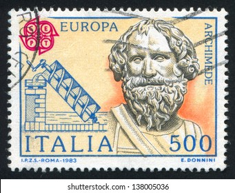 ITALY - CIRCA 1983: stamp printed by Italy, shows Archimedes and his screw, circa 1983