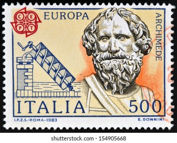 ITALY - CIRCA 1983: stamp printed in Italy shows Archimedes and his screw, circa 1983
