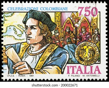 """ITALY - CIRCA 1991: A stamp printed in Italy from the """"Celebrzioni Colombiane"""" issue shows Christopher Colombus and the ship, circa 1991."""