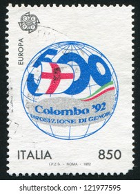 ITALY - CIRCA 1992: stamp printed by Italy, shows Globe and exhibition amblem, circa 1992