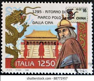 ITALY - CIRCA 1996: A stamp printed in Italy shows Marco Polo's return from China, circa 1996