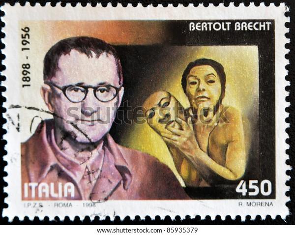 ITALY - CIRCA 1998: A stamp printed in Italy shows Bertolt Brecht, circa 1998