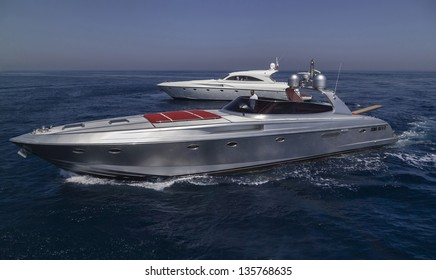 Italy, Circeo (Rome), Tyrrhenian sea, luxury yachts, aerial view
