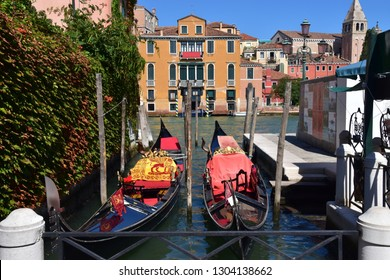 Italy, city of Venice, September 8, 2018 - gondola docking. Editorial use.