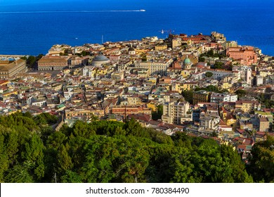 Italy. Cityscape of Naples (historic centre of city is a UNESCO World Heritage Site) seen from Castle Sant'Elmo. There is Piazza del Plebiscito (on the left) and Castel dell'Ovo in the background