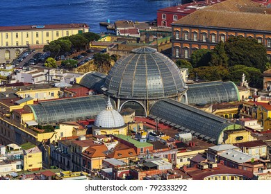 Italy. Cityscape of Naples seen from Castle Sant'Elmo. Galleria Umberto I (this building and historic centre of city is a UNESCO World Heritage Site)