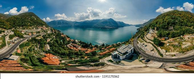 Italy Como Lake drone Air 360 vr virtual reality drone panorama