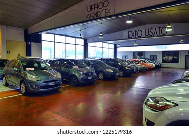 Italy, Desio, 26 october, 2018, car dealership for used cars and new Italian carsm  Italy, Desio, 26 october, 2018