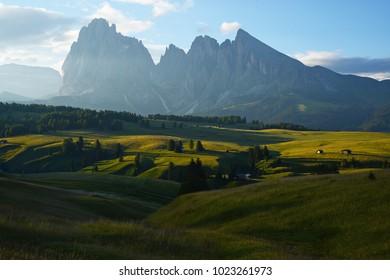 Italy Dolomite mountain called Alpe di Siusi