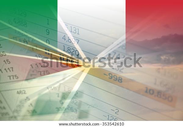 Italy economy concept - Financial data on Italy flag