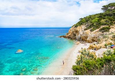 Italy, Elba island, panoramic view of beautiful beach.Elba island, Tuscany, Italy.