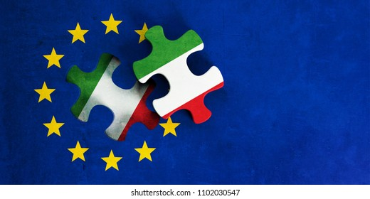 Italy and EU relations, Italexit concept. European Union flag with Italy flag puzzle piece out. 3d illustration