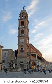 ITALY, FAENZA - NOVEMBER 1, 2013: the old clock tower built in 1604. Rebuilt after the second world war.