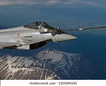Italy February 2019. As the four consortium Eurofighter partners near completion of contracts attention centers on upgrade programmes. Here a selection of Italian Air Force EF2000's refuelling