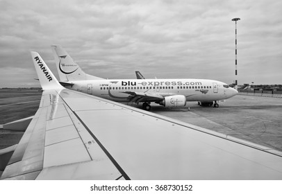 Italy, Fiumicino International Airport (Rome); 26 January 2016, airplanes on the runaway parking - EDITORIAL