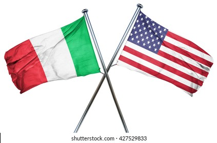 Italy flag with american flag, isolated on white background