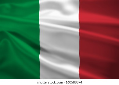 Italy flag blowing in the wind. Background texture.