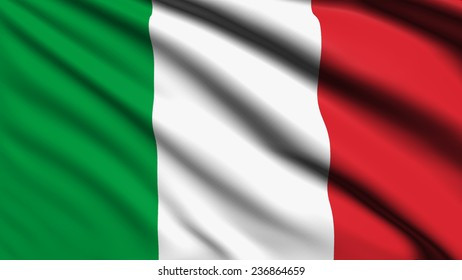 Italy flag with fabric structure