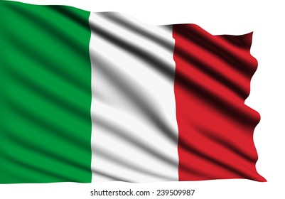 Italy flag with fabric structure (clipping path)