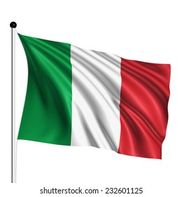 Italy flag with fabric structure on white background