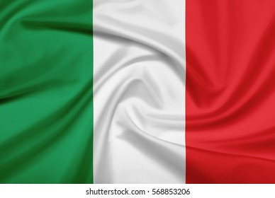 Italy flag with fabric texture. Flag of Italy. 3D illustration.