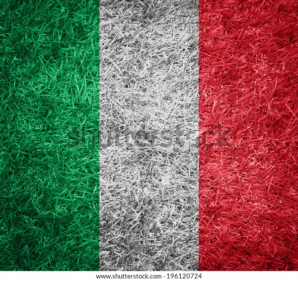italy flag on grass texture background
