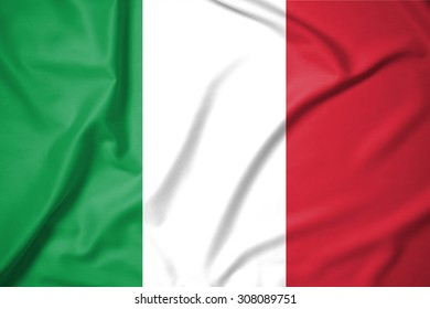italy flag on soft and smooth silk texture